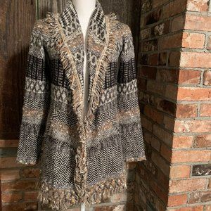 LUCKY BRAND Size XS Open Front Cardigan Fringed